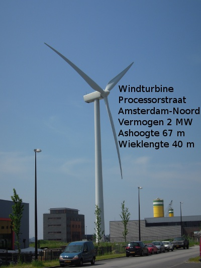 foto van windmolen aan de Processorstraat in Amsterdam-Noord